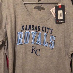 Kansas City Royals Ladies 2XL Vneck LS NWT Tshirt